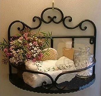 Beautiful Garden Style Wrought Iron Bathroom Shelves Storage Rack Wall Mounted Shelves
