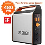 atsmart Portable Power Station [480Wh Super-Large capacity] Integrated Solar Power Generator, Charged by Solar Panel/Wall Outlet with Multiple Outputs, LED for Emergency Backup