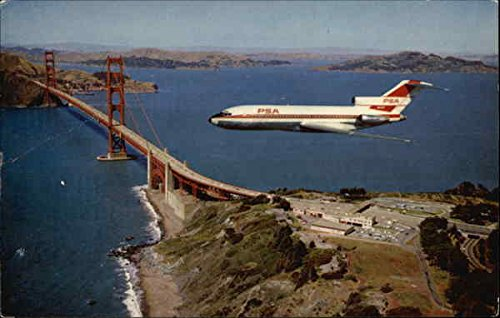 (Flying With PSA - The Nation's Leading Intra-State Airline - Over The Golden Gate Bridge Original Vintage Postcard)