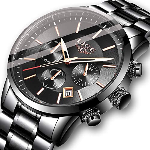 Men Watches Fashion Dress Steel Analog Quartz Wristwatch Sport Waterproof Chronograph Watch Top Brand LIGE Business Date Gents Watch Black Glod Clock