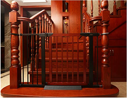 Baby Gate/Baby Gate for Stair with Banisters/Pet Gate, Fit Stairway or Doorway, Extendable, Auto Close, Pressure Mount (Wooded)