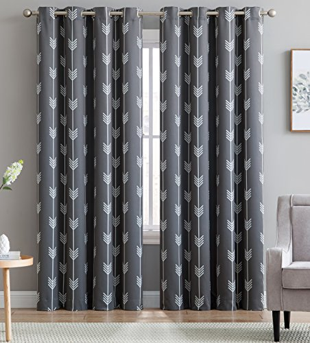 HLC.ME Arrow Printed Blackout Room Darkening Thermal Grommet Window Curtain Drape Panels for Bedroom - Set of 2 - Grey - 96