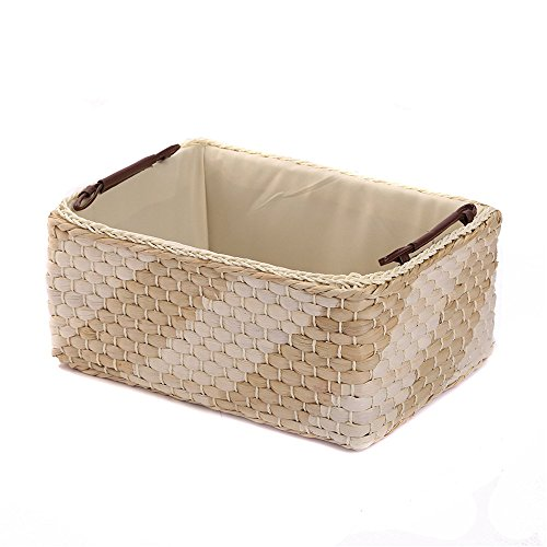 Maize Storage Basket Natural (KINGWILLOW Storage basket, Natural & white Maize Storage Bins Rectangular Basket(Small))
