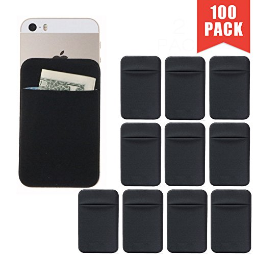Lycra Phone Card Holder Self Adhesive Credit Card Wallet Lid Credit Card Holder Card Case and Money Clip for iPhone Android and all Smartphones (Black 100Pack) by ANQUEUE