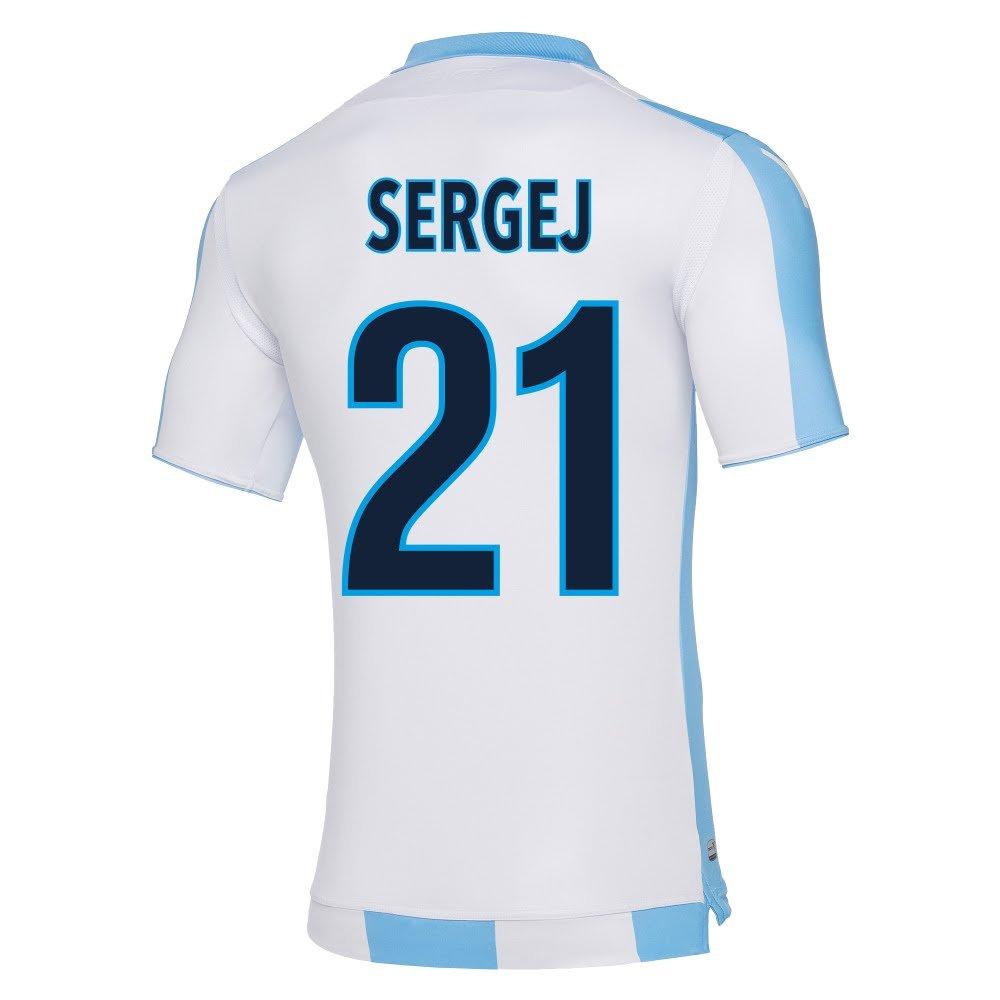 Macron Lazio Away Authentic一致Sergej Jersey 2017 / 2018 (ファンスタイル印刷) B078WC53QZX-Large