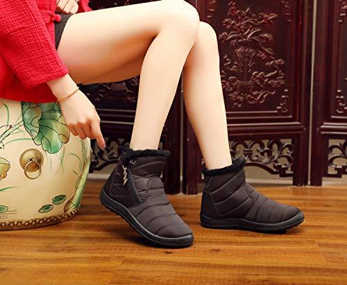 Imperméable Femme Neige De Chaussures Bottines Hiver Tqgold Chaude Foncé Bottes Marron q0BApwH