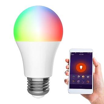 Bombilla inteligente Wifi, Bombilla LED regulable, Control remoto y función de temporizador para teléfonos