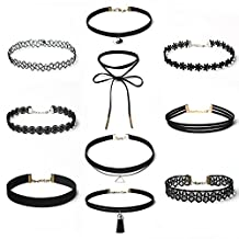 Choker Necklace,10Pieces/Set Charming Stretch Velvet Classic Gothic Tattoo Lace Choker