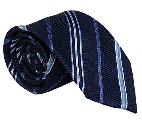 Silk Blue Tonal Tie (Secdtie Men's Navy Blue Silk Self Cravat Ball Party Ties 3