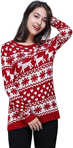 [Patrocinado] Fancyqube clásico Pullover de la mujer reno de Navidad suéter