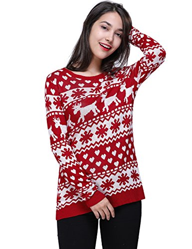 Fancyqube Women's Vintage Pullover Reindeer Christmas Sweater Red L (Reindeer Sweater)
