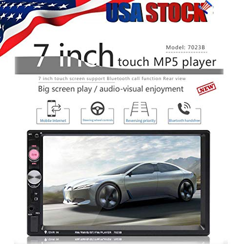 7 Inch Touch Screen Car MP5 Player with 2 Din Car Stereo,Unine Backup Rear View Camera,Bluetooth Receiver for car,FM Radio Car Audio with Hands-Free Mirror Link