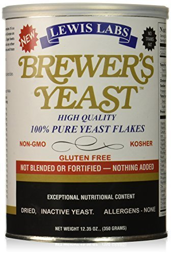 LEWIS LABS BREWERS YEAST FLAKES PURE, 12.35 OZ (Pack of 6) by Lewis Labs