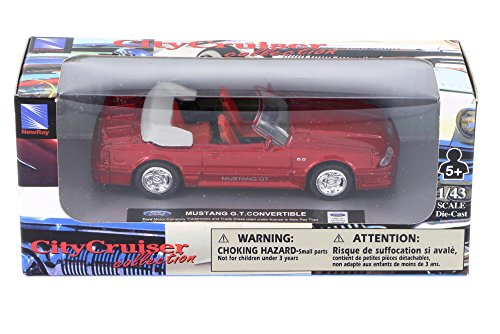 1989 Ford Mustang GT Convertible, Red - New Ray 48257 - 1/43 Scale Diecast Model Toy Car -  48257D4012517