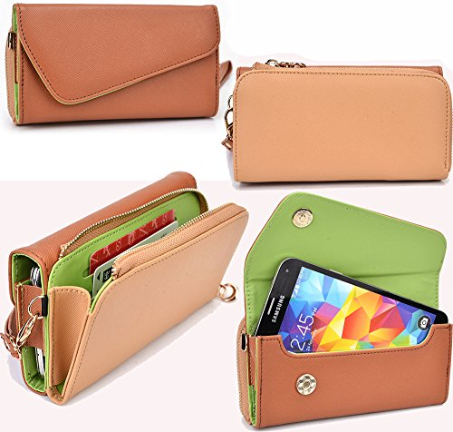 NuVur All in One Universal Wallet Clutch Smartphone Case Fits Apple iPhone 6, 6s, 7, 8|Beige