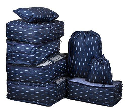 Navy Feather - Vercord 8 Pcs Packing Cubes Pods Travel Luggage Suitcase Organizer & Shoes Laundry Bags, Navy Feathers