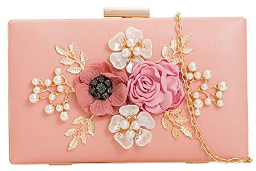 Color Bolsa Bolsos De Perla Floral Compacta Rosa Femeninos qgq8TaYx