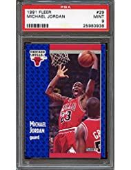 b891c6901cb3ff 1991-92 fleer  29 MICHAEL JORDAN chicago bulls PSA 9 Graded Card