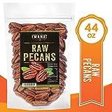 Raw Pecans Halves, 44oz(2.75 Pounds) Compares to Organic, NO PPO, Unpasteurized, 100% Natural, Extra Fancy, No Preservatives, Non-GMO, Un Salted Un Roasted Pecan Halves 2.75 lb