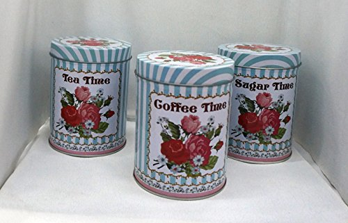 Set of 3 Tea, Coffee, and Sugar Storage Canisters, shabby chic, with beautiful floral design