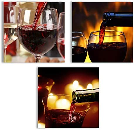 Abstract Wine Cup Pictures Home Wall for Kitchen Streched and Framed x3 Panels