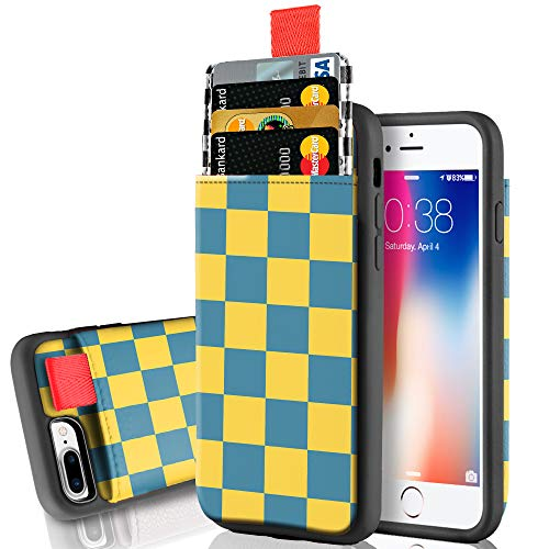 LAMEEKU Wallet Case for iPhone 8 Plus and iPhone 7 Plus, Leather Card Holder Case with Credit Card Slot Shockproof TPU Cover Compatible for iPhone 8 Plus/iPhone 7 Plus Blue and Yellow Plaid