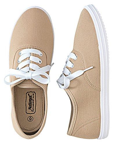 National Classic Canvas Sneakers, Khaki, (Khaki Canvas Footwear)