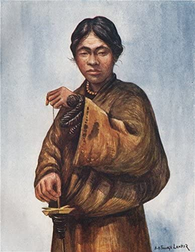 Tibetano Man Spinning lana Por Arnold Henry Savage Landor. Tibet ...