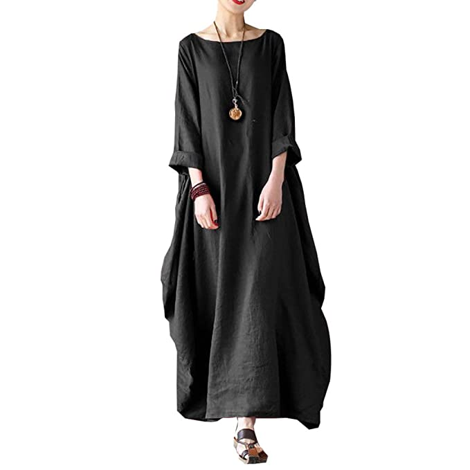 787cd5411d7 Goocheer Women s 3 4 Sleeve Maxi Dress with Pockets Long Loose Boho Style (L