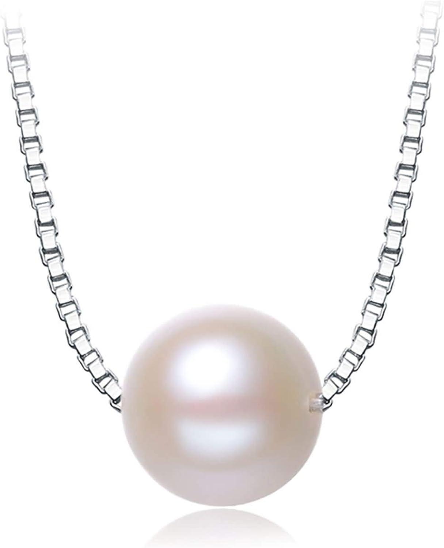 AnaZoz Collares Mujer Plata de Ley 925 Colgante Collar Mujer Collar Perla Redonda Blanca Collar Colgante Mujer Longitud 40/45CM