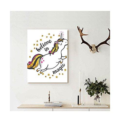 Liguo88 Custom canvas Unicorn Home and Kids Decor Magic Quot