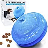 Image of Dog Food Treat Dispenser Toys Flying Discs Shape Interactive Dog IQ Ball for Small Medium Dogs Chasing Chewing Playing Training (Blue, Flying Discs)