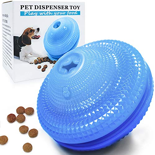 Wisedom Dog Treat Ball IQ Interactive Food Dispensing Puzzle Toys for Dogs Chasing Chewing Playing