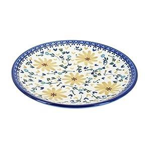 Blue Rose Polish Pottery Yellow Daisy Dessert Plate