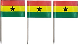 JAVD CYPS 100 Pcs Ghana Flag Ghanaian Toothpick Flags, Small Mini Stick Cupcake Toppers Ghanaian Flags,Country Picks Party Decoration Celebration Cocktail Food Bar Cake Flags