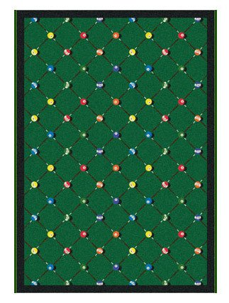 Joy Carpets Games People Play Billiards Gaming Area Rugs, 46-Inch by 64-Inch by 0.36-Inch, Green by Joy Carpets