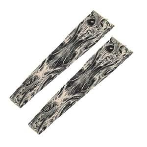 Nylon Washable Slip on Tatoo Arm Leg Sleeve 2Pcs Khaki Gray