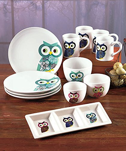Owl Dining Kitchen Tabletop Dinnerware Earthenware Ceramic Collection Plates Mugs Serving Tray Bowl Set & Amazon.com | Owl Dining Kitchen Tabletop Dinnerware Earthenware ...
