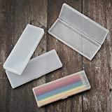 4 Pieces Plastic Pencil Case Plastic Stationery Case with Hinged Lid and Snap Closure for Pencils, Pens, Drill Bits, Office Supplies (White)
