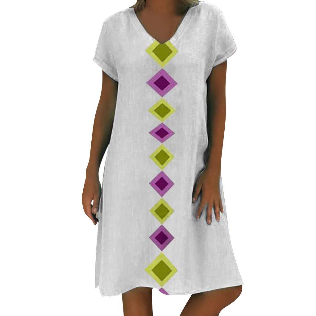 Sumeimiya Women Cotton and Linen Dress, Ladies Summer Plus Size Dress Casual Loose T-Shirt Dress Simple Outdoor Dress White