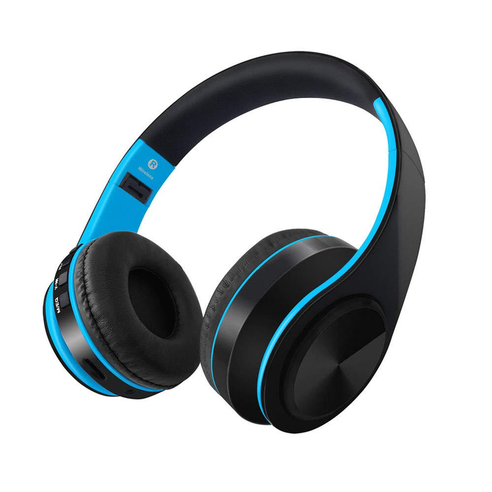 S&S SKY SINCERITY Bluetooth V5.0 Over Ear Headphone Comfortable Noise Isolation Earpads, Lightweight & Foldable Wired/Wireless Stereo Headset with mic for Cell Phone (Blue)