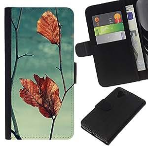 KLONGSHOP // Tirón de la caja Cartera de cuero con ranuras para tarjetas - Hoja Otoño Rama Cielo trullo - LG Nexus 5 D820 D821 //