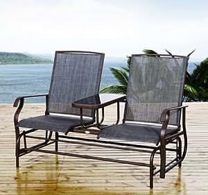 New MTN-G Patio Glider Rocking Chair Bench Loveseat 2 Person Rocker Deck Outdoor Furniture