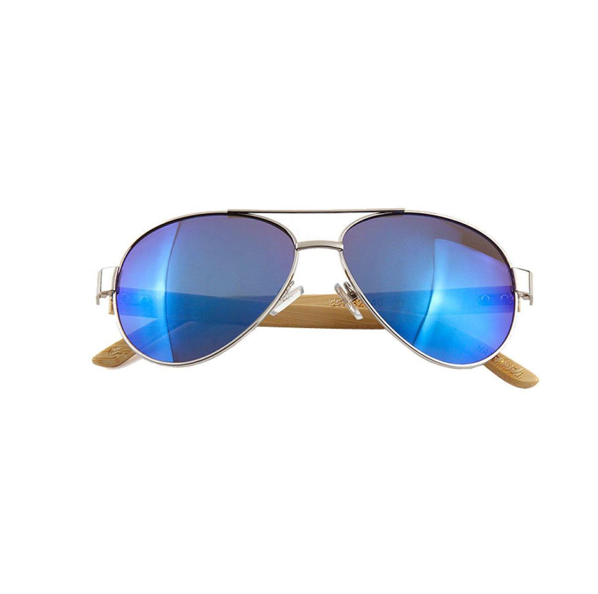 HAOYUXIANG Fuß Bambus-Sonnenbrille Für Männer Und Frauen In Europa Und Amerika,SilverFrameWhiteMercury