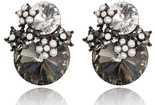 Black & Clear Crystal Earrings - 7