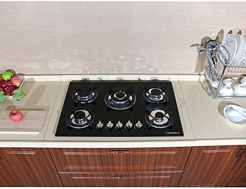 !! 30 Fashion Black Tempered Glass Built-in Kitchen Natural Gas 5 Burner Gas Hob CookTop ON SALE NOW!!