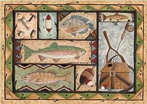 Amazon Com Fishing Wildlife Rug 36 Quot X 52 Quot Kitchen