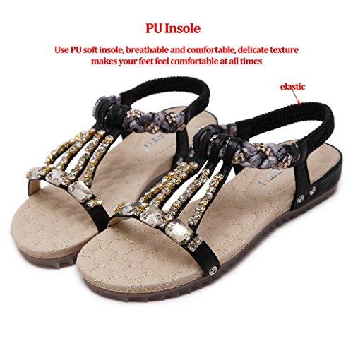 Shoes Toe Beach Elastic Thongs Boho Beaded ACMEDE Rhinestone Flip T Round Black Women Sandals Flat Flops Strap Summer 4x4fZIq7