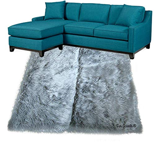 Shag Carpet - Extraordinary Faux Fur Rug - Accent - Area Rug - Throw Rug and Design - Hand Made in The USA (10'x14', Gray)