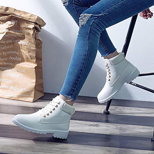 Bout À Bottes Tefamore Courtes Femmes Cheville Rétro Solide Mode Blanc Décontractées Lacets Épaisse Rond Chaussures q1wvS